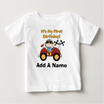 Personalized Red Race Car 1st Birthday Tshirt