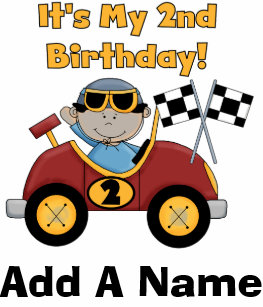 Personalized Red Race Car 2nd Birthday Tshirt