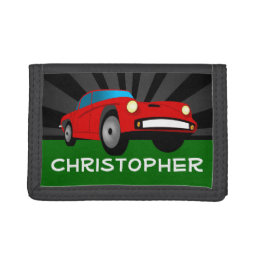 Personalized Red Race Car Boys Tri-fold Wallet