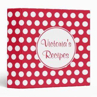 Personalized Red Recipe Organizer Binder Gift