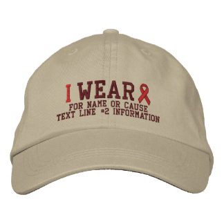 Personalized Red Ribbon Awareness Embroidery Embroidered Baseball Cap
