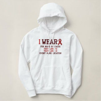 Personalized Red Ribbon Awareness Embroidery Embroidered Hoodie