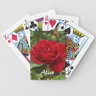 Personalized Red Rose Playing Cards