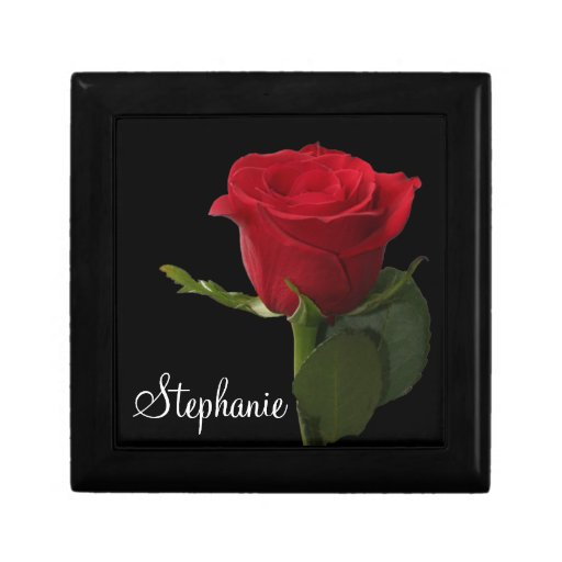 Personalized Red Rose Trinket Box