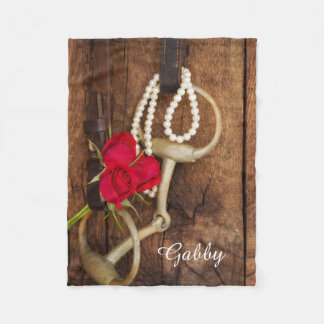 Personalized Red Roses and Horse Bit Country Fleece Blanket