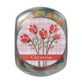 Personalized Red Roses on Pink Love Hearts Jelly Belly Candy Jar