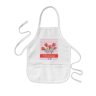 Personalized Red Roses on Pink Love Hearts Kids' Apron