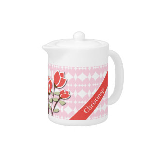 Personalized Red Roses on Pink Love Hearts Teapot
