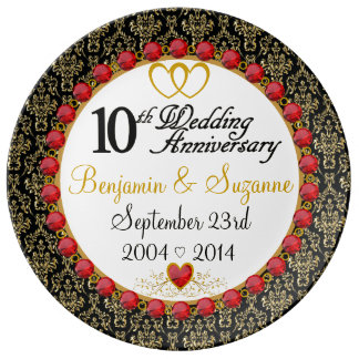 Personalized Red Rubies Porcelain 10th Anniversary Plate