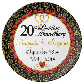 Personalized Red Rubies Porcelain 20th Anniversary Porcelain Plate