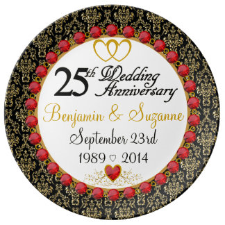 Personalized Red Rubies Porcelain 25th Anniversary Plate