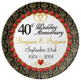 Personalized Red Rubies Porcelain 40th Anniversary Porcelain Plates