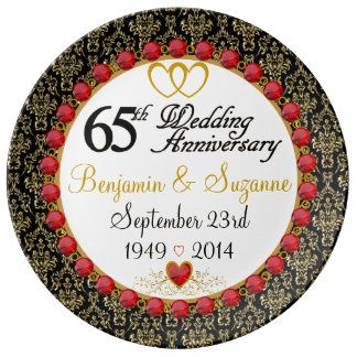 Personalized Red Rubies Porcelain 65th Anniversary Plate