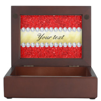 Personalized Red Sequins, Gold Foil, Diamonds Keepsake Box