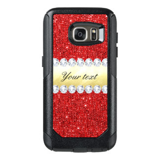 Personalized Red Sequins, Gold Foil, Diamonds OtterBox Samsung Galaxy S7 Case