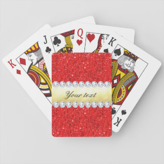 Personalized Red Sequins, Gold Foil, Diamonds Playing Cards