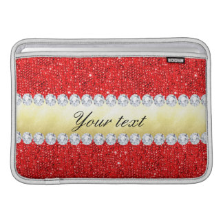 Personalized Red Sequins, Gold Foil, Diamonds Sleeve For MacBook Air