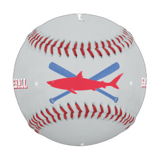 personalized red shark baseball