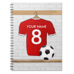 Personalized Red soccer Jersey Notebooks