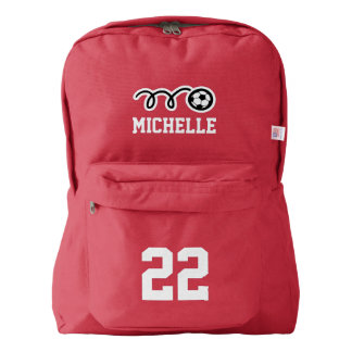 Personalized red soccer jersey number backpack