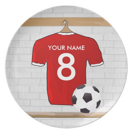 Personalized Red soccer Jersey Party Plates