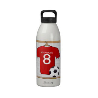 Personalized Red soccer Jersey Drinking Bottles