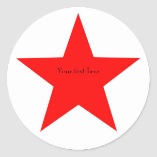 Personalized Red Star Round Classic Round Sticker