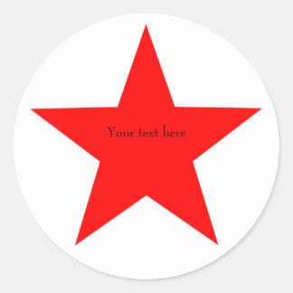 Personalized Red Star Round Classic Round Sticker