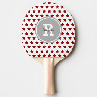 Personalized Red Stars Ping-Pong Paddle