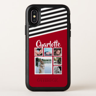 Personalized Red Stripe Pattern Black White OtterBox Symmetry iPhone X Case