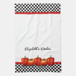Personalized Red Tomatoes and Peppers Italian Style Kitchen Towel