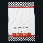 """Personalized Red Tomatoes Pepper Italian Style Kitchen Towel<br><div class=""""desc"""">You can personalize the name on this black and white checkerboard subway pattern red tomatos and peppers Italian style kitchen tea towel. To change the name,  use the personalize option. A classic kitchen design.</div>"""