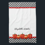 "Personalized Red Tomatoes Pepper Italian Style Kitchen Towel<br><div class=""desc"">You can personalize the name on this black and white checkerboard subway pattern red tomatos and peppers Italian style kitchen tea towel. To change the name,  use the personalize option. A classic kitchen design.</div>"