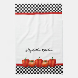 Personalized Red Tomatoes Pepper Italian Style Kitchen Towels