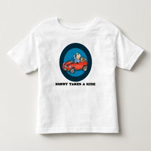 Personalized Red Toy Car Boy & Dog Tshirt