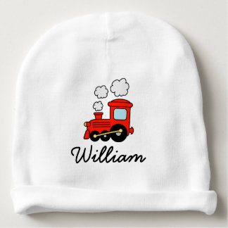 Personalized red toy train baby hat for cute boy