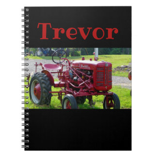 Personalized Red Tractor Notebook