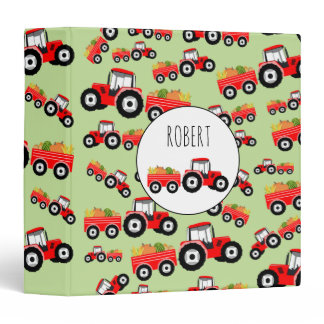 Personalized Red Tractor Truck Farm Produce 3 Ring Binder