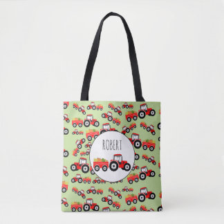Personalized Red Tractor Truck Farm Produce Tote Bag