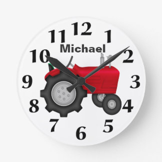 Personalized Red Tractor Wall Clock