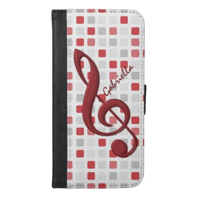 Personalized Red Treble Clef on Red Gray Mosaic iPhone 6/6S Plus Wallet Case