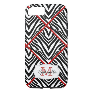 Personalized: Red Trimmed Zebra Case for iPhone 7