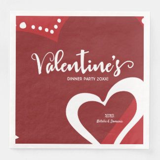 Personalized, Red, Valentine's dinner party Paper Dinner Napkin