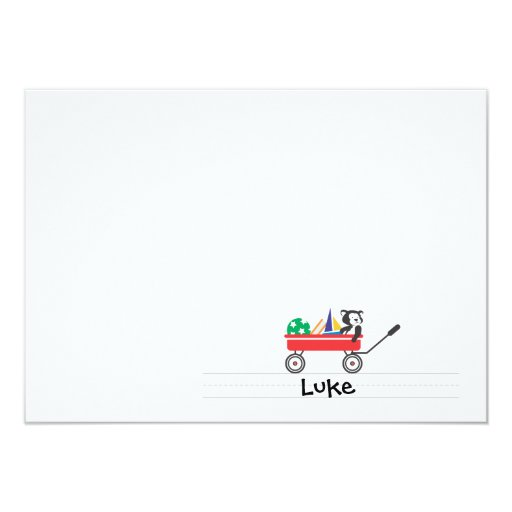 Personalized Red Wagon Flat Note card Custom Invites