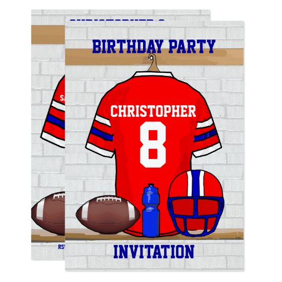 Personalized Red WB Football Jersey Birthday Party Invitation