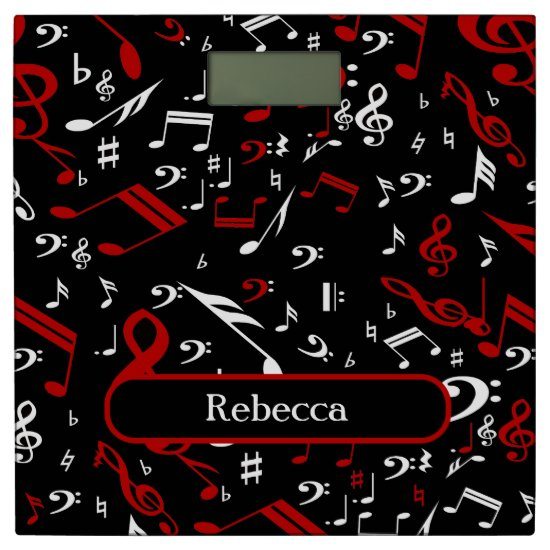 Personalized Red White and Black Musical Notes Bathroom Scale