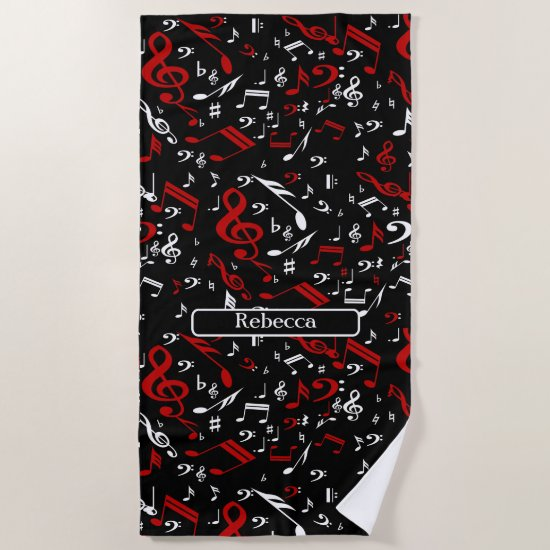 Personalized Red White and Black Musical Notes Beach Towel