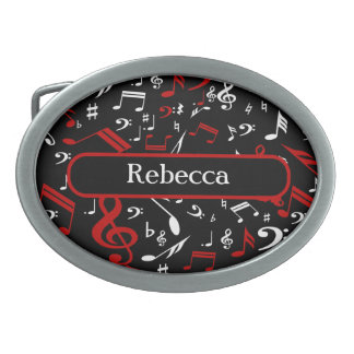 Personalized Red White and Black Musical Notes Belt Buckle