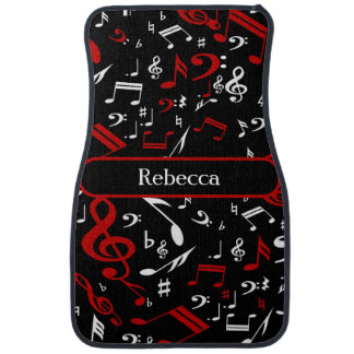 Personalized Red White and Black Musical Notes Car Floor Mat