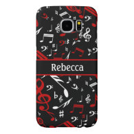 Personalized Red White and Black Musical Notes Samsung Galaxy S6 Cases